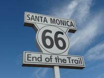 Santa Monica Pier Route 66 Sign  Royalty Free Stock Images