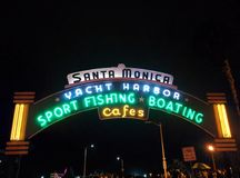 Santa Monica Pier sign at night Royalty Free Stock Images