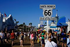 Santa monica pier start of route 66 royalty free stock photography