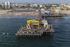 Santa Monica Pier Summer Tourists Aerial Royalty Free Stock Photos