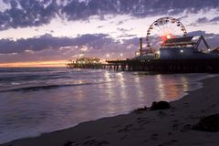 Santa Monica Pier at Sunset Stock Photos