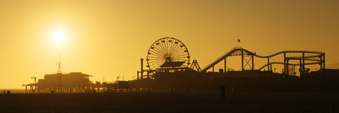 Santa Monica Pier at sunset. Silhouette of Santa Monica Pier at Sunset stock photos