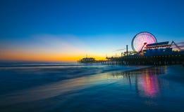 Santa Monica Pier Sunset arkivbild