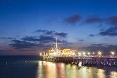 Santa Monica Pier after sunset, California Stock Photo