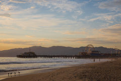 Santa Monica Pier. Pier Santa Monica Sunset Ocean Stock Photo