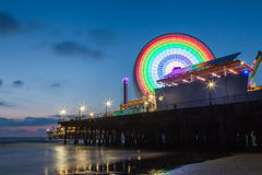 Santa Monica Pier after sunset, Santa Monica, California, USA Royalty Free Stock Images