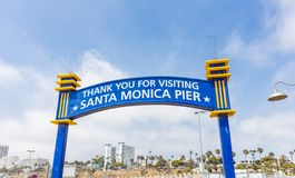 Santa Monica pier, thank you for visiting arch sign, cloudy sky, spring day
