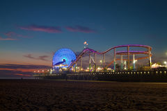 The Santa Monica Pier at twilight Royalty Free Stock Photography