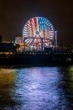 Santa Monica Pier. View from the beach, Santa Monica Pier, california, 6-16-2016 Royalty Free Stock Photo