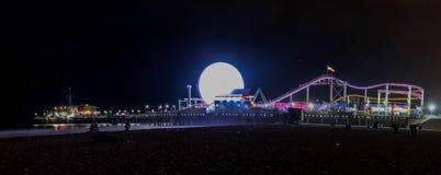 Santa Monica Pier. View from the beach, Santa Monica Pier, california, 6-16-2016 Royalty Free Stock Photography