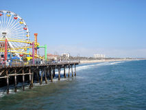 Santa Monica Pier. With a view of the Ferris Wheel. Santa Monica beach in California USA Royalty Free Stock Images