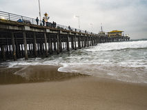 Santa Monica Pier - Waves and Pilings - Low Tide Royalty Free Stock Photography