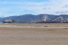 Santa Monica Pier on windy January day Royalty Free Stock Photos