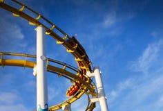 Santa Monica Roller Coaster. Roller Coaster at the Santa Monica pier on a bright sunny day Royalty Free Stock Photography