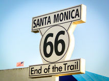 Santa Monica Route 66 End of the Trail sign California Los Angel Royalty Free Stock Photo
