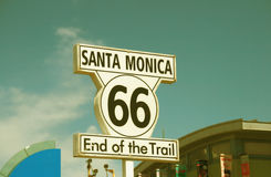 Santa Monica sign - route 66 end of the train Stock Image