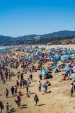 Santa Monica-strand op een warme de zomerdag Stock Afbeelding