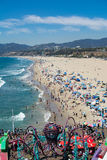Santa Monica-strand op een warme de zomerdag Royalty-vrije Stock Foto
