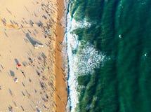 Santa Monica-strand van hierboven Stock Afbeeldingen
