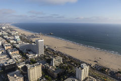 Santa Monica Sunny Summer Afternoon Aerial Stock Image