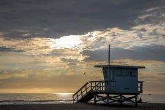 Santa Monica Sunset. At Beach Royalty Free Stock Photos
