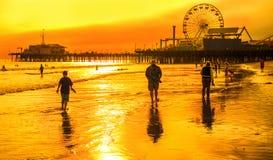 Santa Monica sunset. View of pier in Santa Monica, Los Angeles, California  at sunset Stock Photo