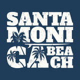 Santa Monica tee print with surfboard and palms. Royalty Free Stock Photography