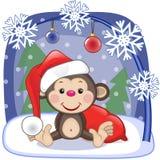 Santa Monkey Immagine Stock