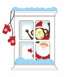 Santa and Monkey look from frozen window Royalty Free Stock Photo