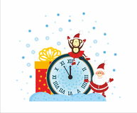 Santa, Monkey and New Year Clock. Santa, Monkey, present, New Year Clock Stock Images