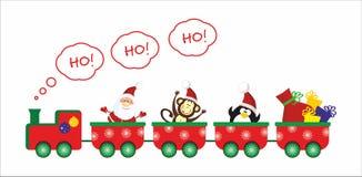 Santa, Monkey, Penguin train. Santa, Monkey, Penguin present train Stock Photography
