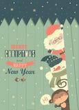 Santa,monkey,snowman wishing you Merry Christmas. Vector greeting card stock illustration