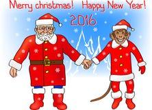 Santa_monkey-74. Year of Monkey. Santa Claus with the Monkey vector illustration