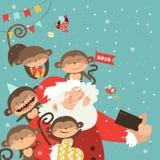 Santa and monkeys take a selfie. Vector illustration Stock Photo