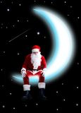 Santa on moon Stock Photography