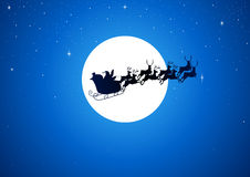 Santa And The Moon. Silhouette illustration of Santa Claus driving his sleigh with the moon as the background