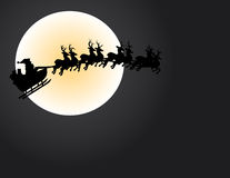 Santa and the Moon. Illustration of santa and his reindeer crossing the moon face Stock Photos