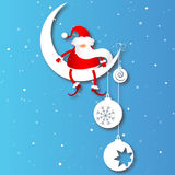 Santa on the Moon Stock Images