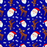 Santa&moose. Vector seamless pattern with moose and santa on blue background Stock Images