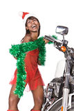 Santa motorbike Royalty Free Stock Photo