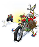 Santa motorbiker in snow. Santa claus on a motorcycle in snow landscape Royalty Free Stock Photo