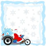 Santa on a motorcycle Royalty Free Stock Image