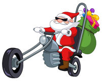 Santa with motorcycle Stock Photos