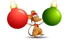 Santa Mouse Ornaments. An illustration featuring a cartoon mouse wearing Santa hat and scarf holding two ornaments in red and green royalty free illustration