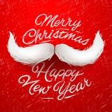 Santa moustache, Merry Christmas card. White Santa moustache, Merry Christmas and Happy New Year card design, vector illustration royalty free illustration