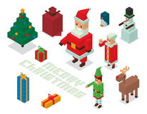 Santa, mrs Claus, helpers family isometric 3d Stock Image