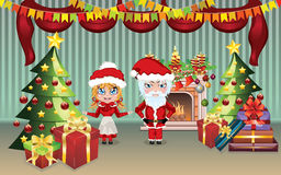 Santa and Mrs Claus in the House Royalty Free Stock Photos