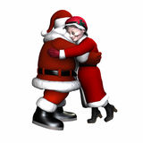 Santa and Mrs Claus Hugging - Isolated Royalty Free Stock Photos