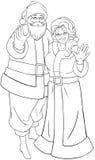Santa And Mrs Claus Waving-Handen voor Kerstmiscol. Royalty-vrije Stock Fotografie