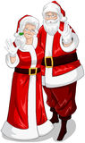 Santa And Mrs Claus Waving Hands For Christmas. A illustration of Santa and Mrs Claus standing hugged and waving their hands for Christmas stock illustration